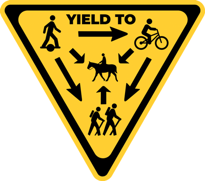 Onewheel trail rules and yield to sign