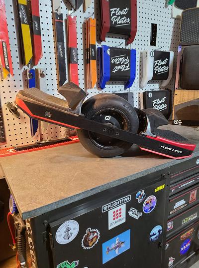 upgraded Onewheel with Growler rails, Sidekicks, Flight Fins, Float Plates, Kush hi, and Xtra Rad tire.